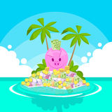 Piggy Bank Full of Money Tropical Island Palm Tree Offshore Banking Royalty Free Stock Image