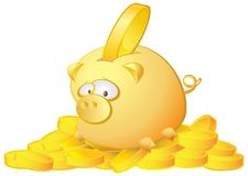 Piggy bank full of money, vector illustration Stock Photo