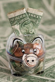 Piggy bank full with US Dollars Royalty Free Stock Photography