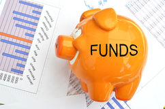 Piggy bank with FUNDS text on the side. Piggy bank on a financial report Stock Images