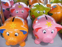 Piggy bank. Funny piggy bank orang pink Royalty Free Stock Image