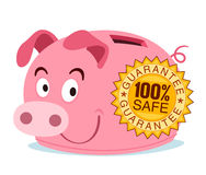 Piggy bank get branded with guarantee stamp Royalty Free Stock Photo