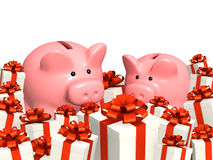 Piggy bank and gifts Royalty Free Stock Photo