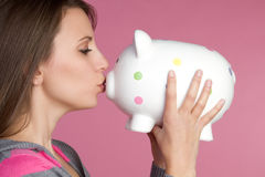 Piggy Bank Girl Royalty Free Stock Photo