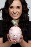 Piggy Bank Girl Stock Photography
