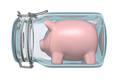 Piggy bank in glass jar Royalty Free Stock Image