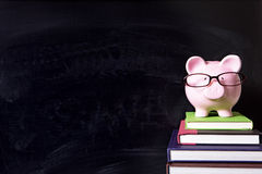 Piggy bank with glasses and blackboard, college fund concept Stock Image
