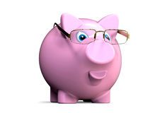 Piggy bank with glasses Stock Photo
