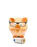 Piggy bank with glasses near fifty euro banknote, concept for business and save money Stock Photo