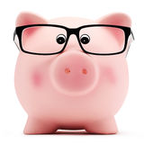 Piggy bank with glasses on white background Stock Image