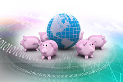 Piggy bank and globe Stock Images