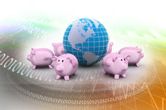 Piggy bank and globe Royalty Free Stock Photos