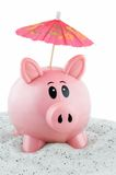 Piggy Bank Goes on Vacation Stock Photo