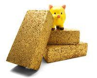 Piggy Bank On Gold Bricks Royalty Free Stock Photography