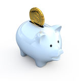 Piggy bank with gold coin. 3d render Stock Photography