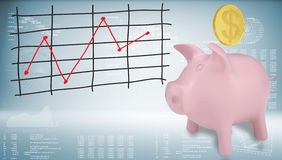 Piggy bank with gold coin and graph Stock Image
