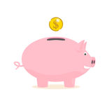 Piggy bank with a gold coin Royalty Free Stock Photography