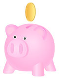 Piggy bank and gold coin Stock Photography