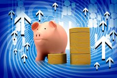 Piggy bank and gold coins Royalty Free Stock Photography