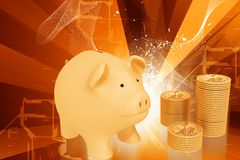 Piggy bank and gold coins Stock Photos