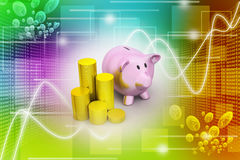 Piggy bank with of gold coins Stock Photography