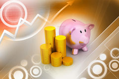 Piggy bank with of gold coins Royalty Free Stock Photos