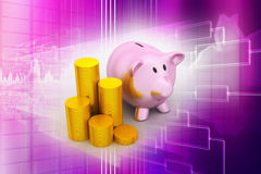 Piggy bank with of gold coins Royalty Free Stock Photo