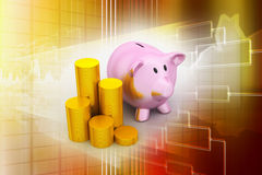 Piggy bank with of gold coins Royalty Free Stock Images