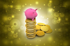 Piggy bank with gold coins Royalty Free Stock Photos