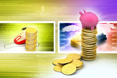 Piggy bank with gold coins Royalty Free Stock Photography