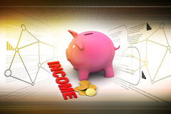 Piggy bank with gold coins Stock Image