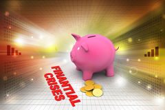 Piggy bank with gold coins Stock Photos