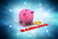 Piggy bank with gold coins Royalty Free Stock Images
