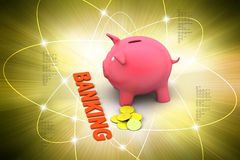 Piggy bank with gold coins Stock Images