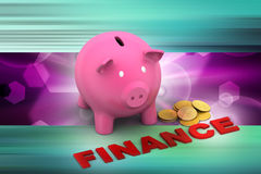Piggy bank with gold coins Royalty Free Stock Image