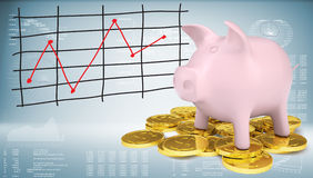 Piggy bank with gold coins and graph Royalty Free Stock Photos