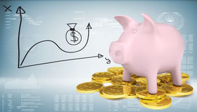 Piggy bank with gold coins and graph Royalty Free Stock Photography