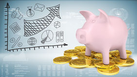 Piggy bank with gold coins and graph. Of price changes. Graphs and texts as backdrop Stock Photography