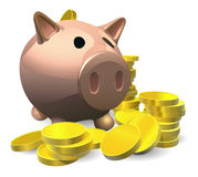 Piggy bank with gold coins illustration Stock Photography