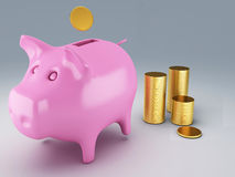Piggy Bank with gold coins. Image of Piggy Bank with gold coins 3d illustration Royalty Free Stock Photo