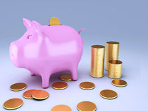 Piggy Bank with gold coins. Image of Piggy Bank with gold coins 3d illustration Stock Photo
