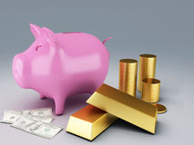 Piggy Bank with gold coins. Image of Piggy Bank with gold coins 3d illustration Royalty Free Stock Photos