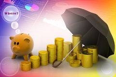 Piggy bank with gold coins and umbrella Royalty Free Stock Photos