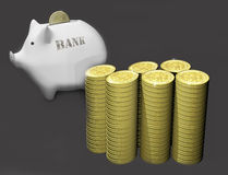 Piggy bank and gold coins white Stock Photos