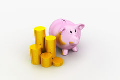 Piggy bank with of gold coins Royalty Free Stock Photography