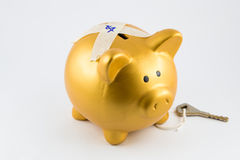 Piggy bank in gold color is locked Royalty Free Stock Photography