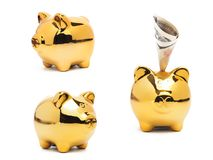 Piggy bank gold color and stack of money safe. Stock Photography