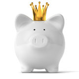 Piggy Bank with Gold Crown Stock Photos