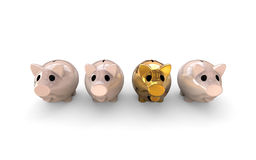 Piggy bank in gold Stock Photo