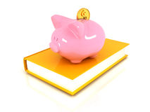 Piggy Bank with a gold dollar coin Royalty Free Stock Photos